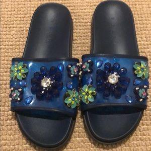 Zara rubber jeweled flip flops